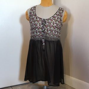 Volcom minidress XS, sheer black and floral